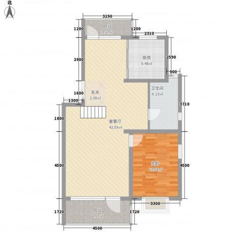 山河园1室1厅1卫1厨110.00㎡户型图