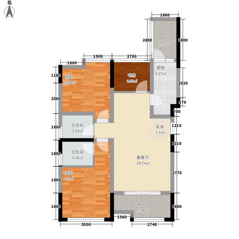 中铁银杏广场91.80㎡B2户型3室2厅2卫1厨