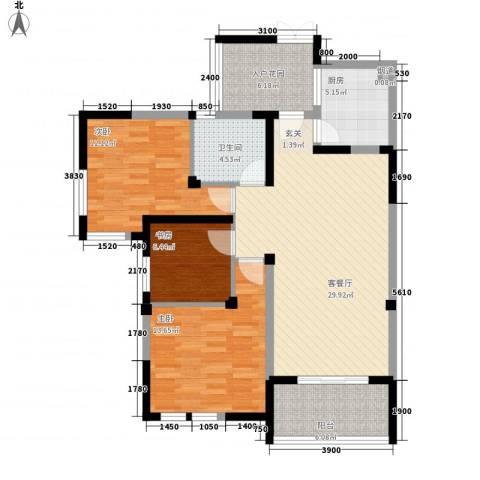 中海名城三期3室1厅1卫1厨96.36㎡户型图