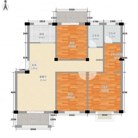 日出东辉3室1厅2卫1厨114.00㎡户型图