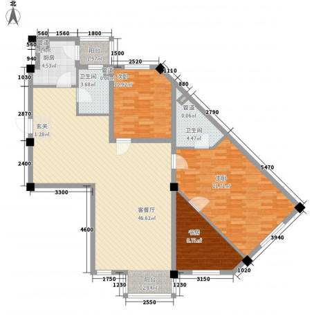 山水龙城3室1厅2卫1厨131.00㎡户型图