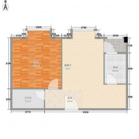 民丰西苑1室1厅1卫1厨130.00㎡户型图
