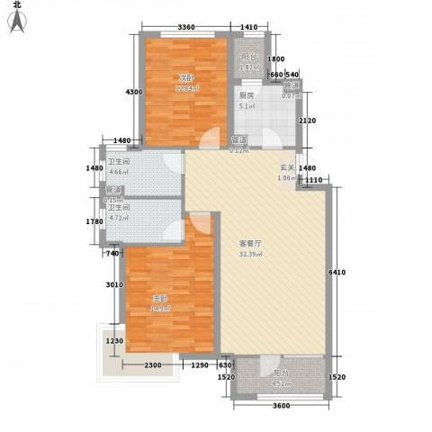 嘉华帕醍欧2室1厅2卫1厨107.00㎡户型图