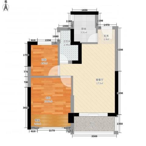 恒大绿洲2室1厅1卫1厨61.00㎡户型图
