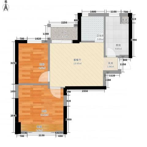恒大绿洲2室1厅1卫1厨60.00㎡户型图