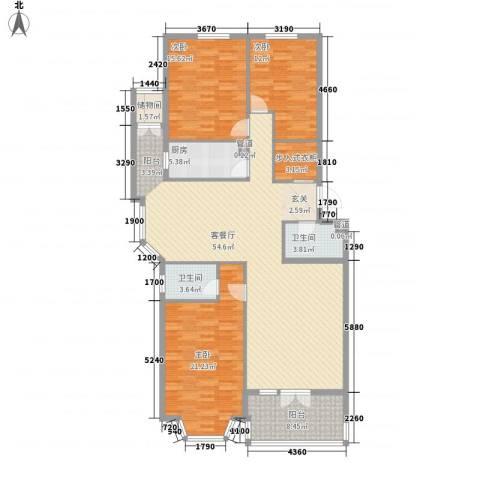 山水LAVIE3室1厅2卫1厨180.00㎡户型图