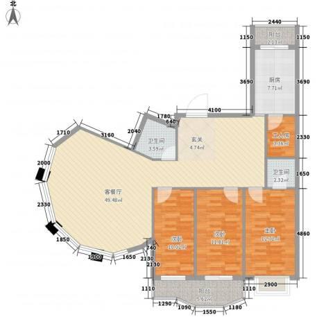 通达世家3室1厅2卫1厨150.00㎡户型图