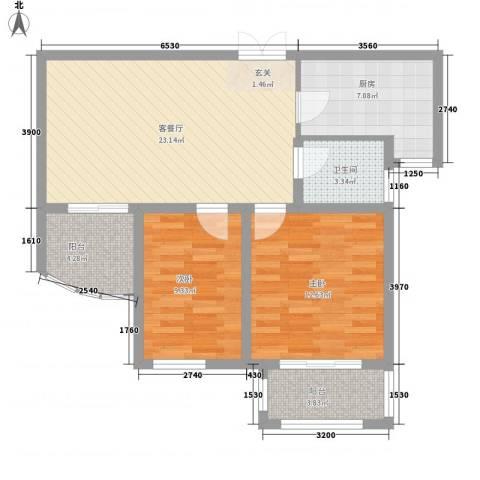 静海苑2室1厅1卫1厨73.23㎡户型图