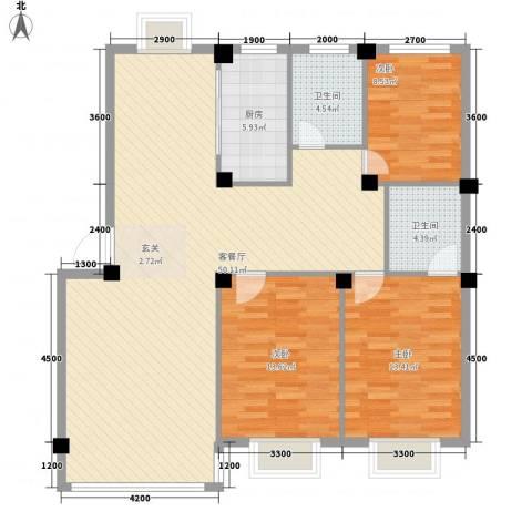 锦城・四月天3室1厅2卫1厨123.00㎡户型图