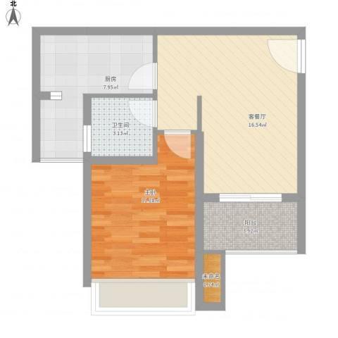 世家城南一号A2-4面积:57.72m21室1厅1卫1厨63.00㎡户型图