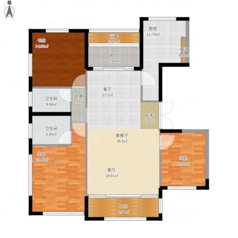 太湖锦园3室1厅2卫1厨181.00㎡户型图