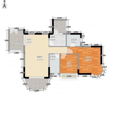 波海蓝湾三期2室1厅2卫1厨115.00㎡户型图