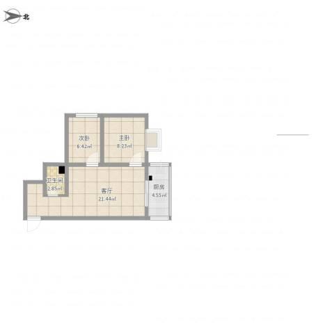 聚馨佳苑小区2室1厅1卫1厨63.00㎡户型图