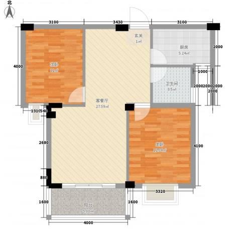 日出东辉2室1厅1卫1厨78.00㎡户型图