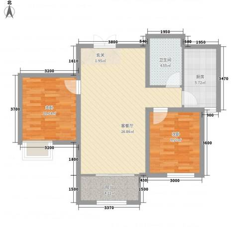 铂金水岸2室1厅1卫1厨87.00㎡户型图