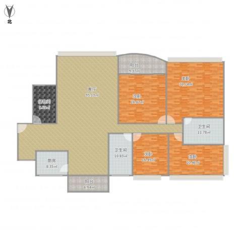 世邦一水岸3-2601四+一杂物房166.59平4室1厅2卫1厨332.00㎡户型图