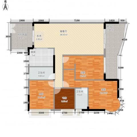 波海蓝湾三期4室1厅2卫1厨179.00㎡户型图