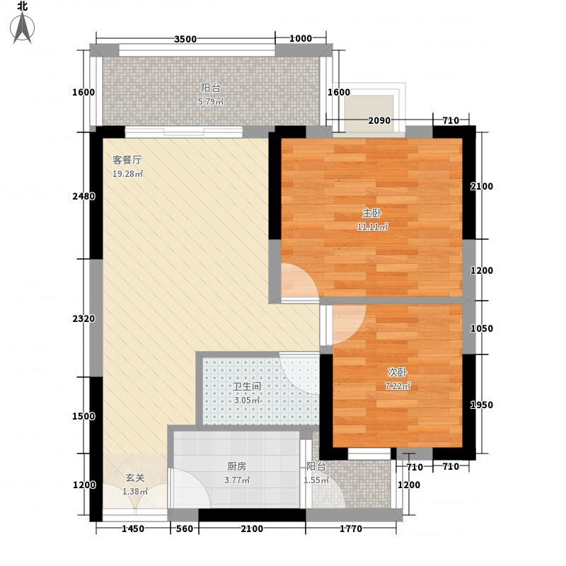 雍河湾42216.48㎡H户型2室2厅1卫1厨