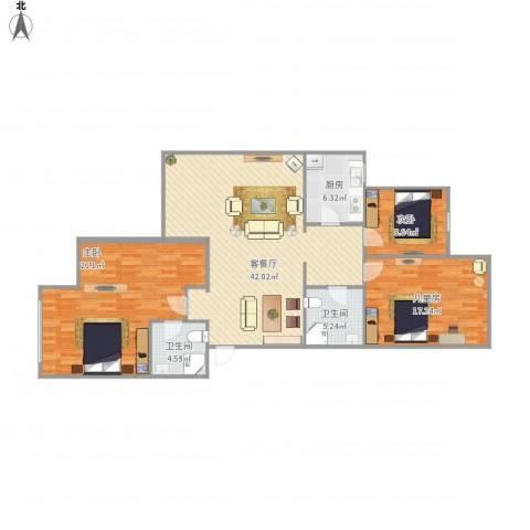 越秀区云影花园12栋401周女士3室1厅2卫1厨147.00㎡户型图