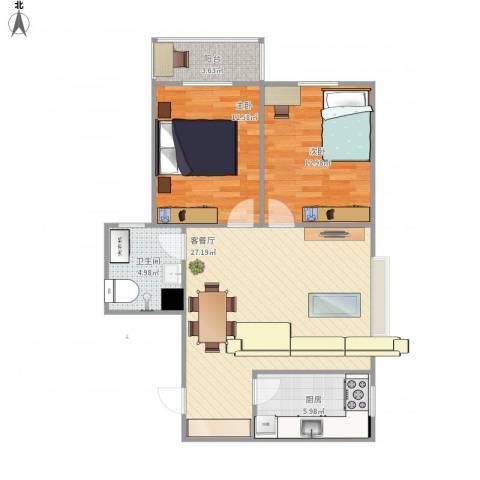 幸福香寓2室1厅1卫1厨83.00㎡户型图