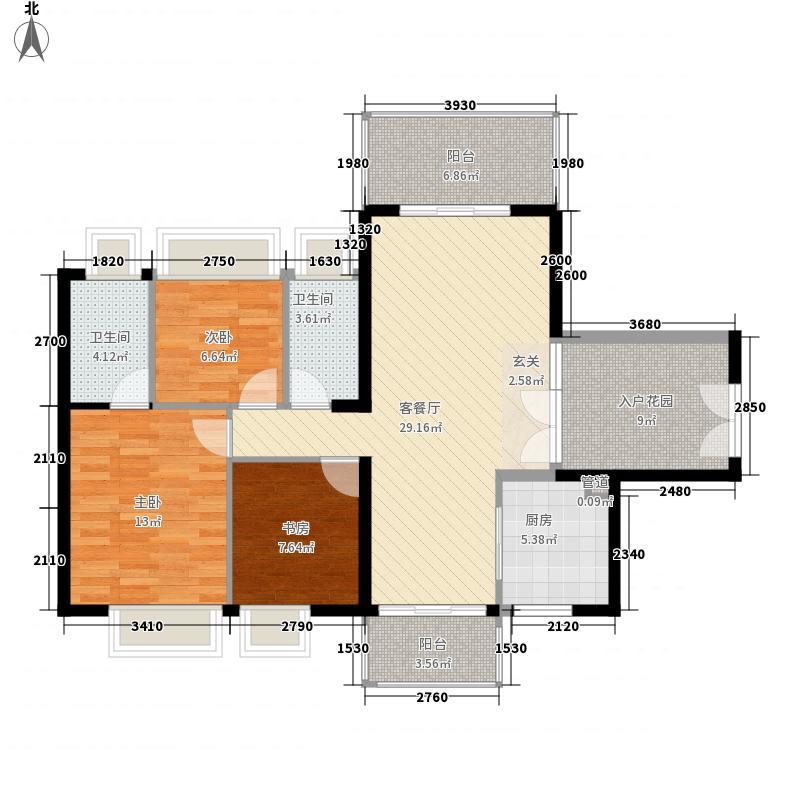 中天彩虹城114.54㎡A4户型3室2厅2卫1厨