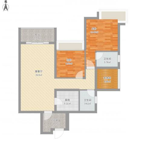 世家城南一号B1-3面积:99.06m22室1厅2卫1厨118.00㎡户型图