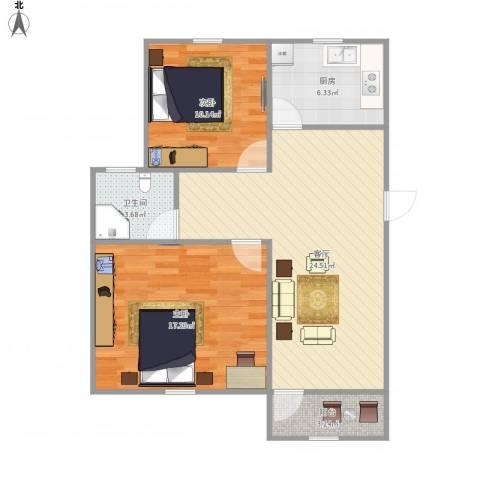 西溪花园2室1厅1卫1厨88.00㎡户型图