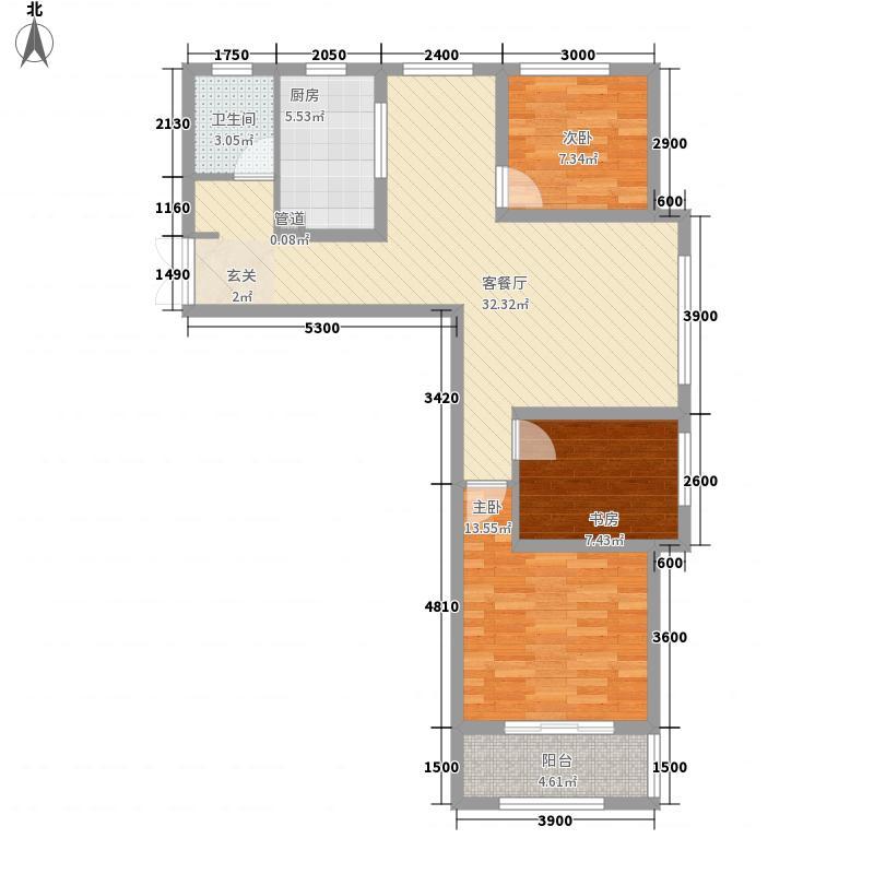 中央广场三角花园A4户型3室2厅1卫1厨