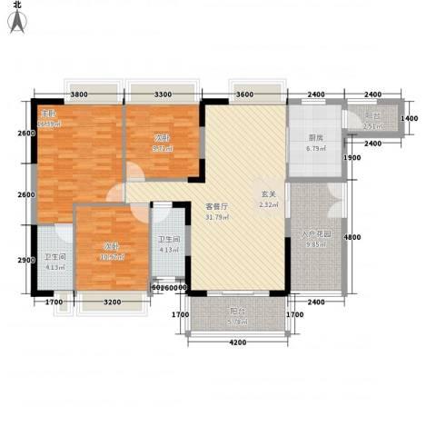 波海蓝湾三期3室1厅2卫1厨145.00㎡户型图