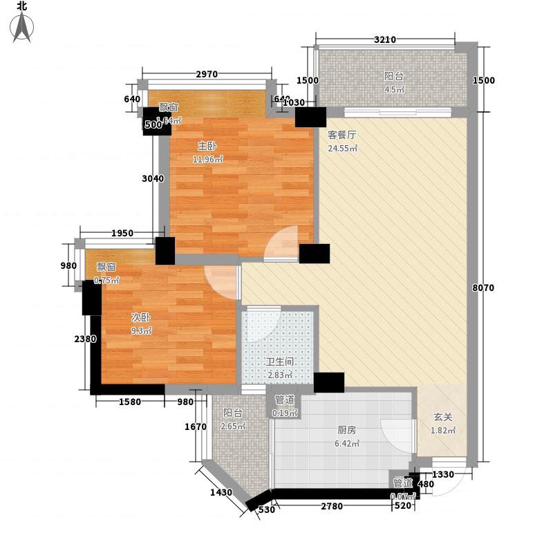 恒基・城市经典85.28㎡品位小家2-05户型2室2厅1卫1厨