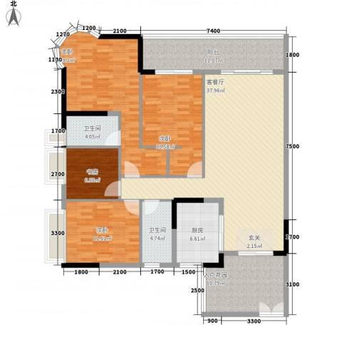 波海蓝湾三期4室1厅2卫1厨178.00㎡户型图