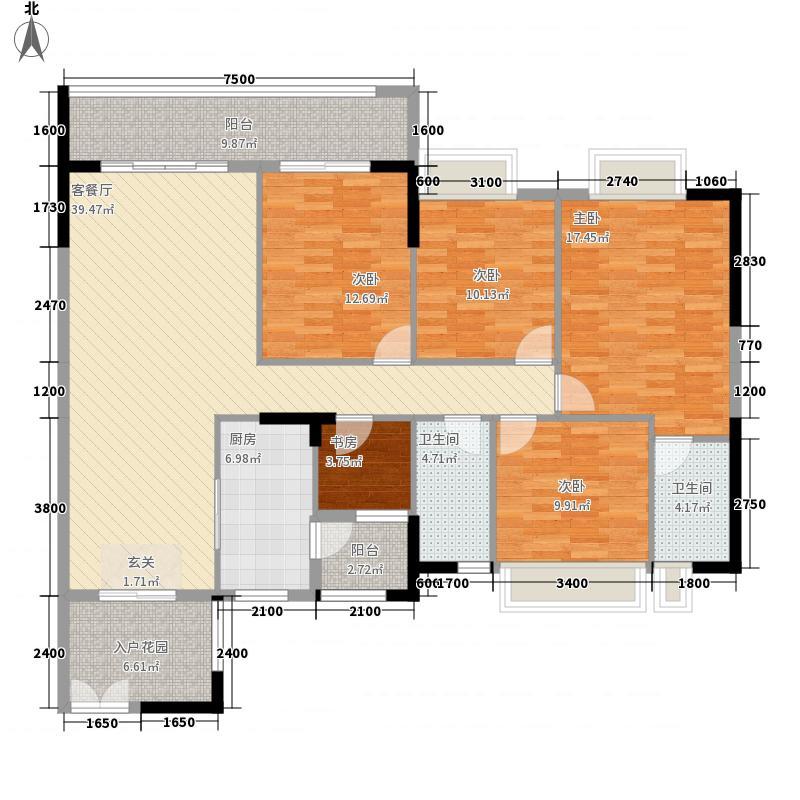 波海蓝湾三期144.00㎡D6幢01单元户型4室2厅2卫1厨