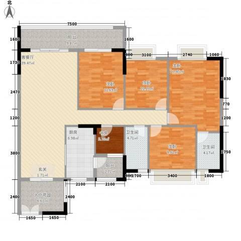 波海蓝湾三期5室1厅2卫1厨144.00㎡户型图