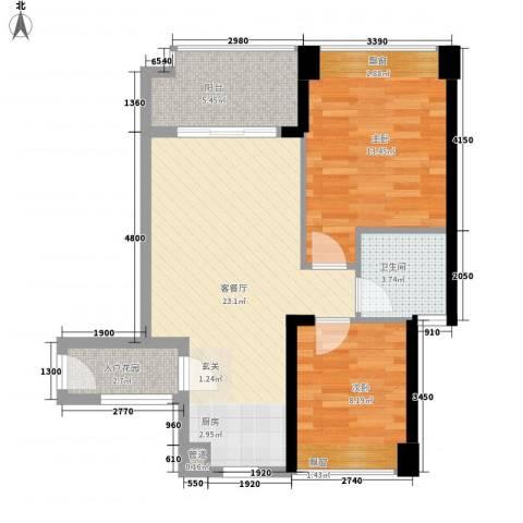 中梁v城市2室1厅1卫0厨72.00㎡户型图