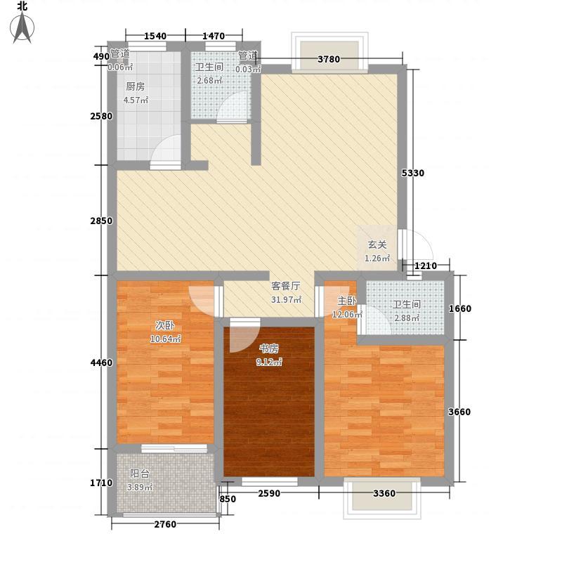 文山清华园113.41㎡户型3室2厅2卫1厨