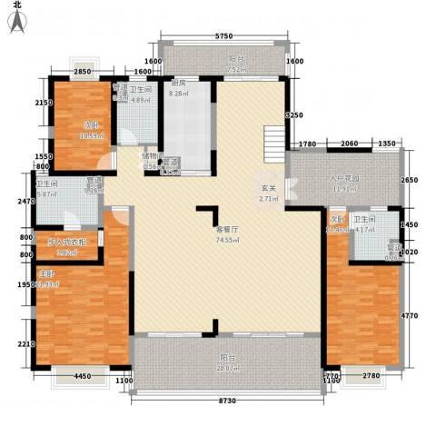 天润碧海湾3室1厅3卫1厨412.00㎡户型图