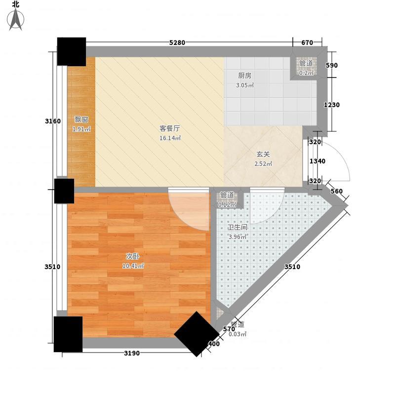 锦里1室1厅1卫0厨51.00㎡户型图