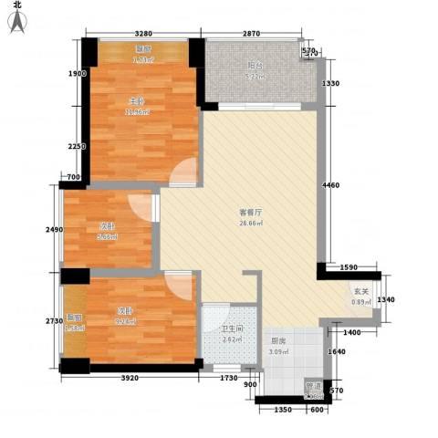 中梁v城市3室1厅1卫0厨72.00㎡户型图