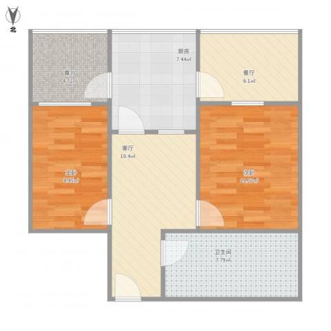 洪楼小区2室2厅1卫1厨76.00㎡户型图
