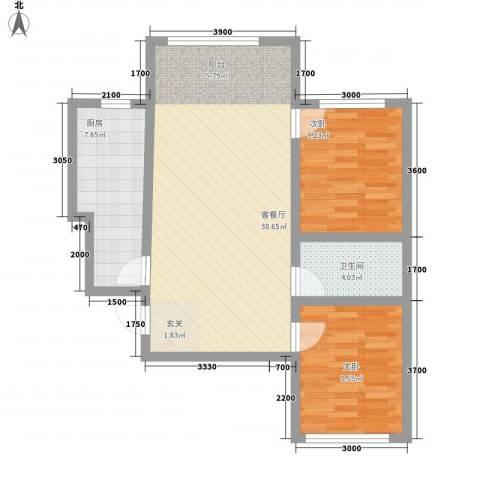 海棠铭居2室1厅1卫1厨85.00㎡户型图
