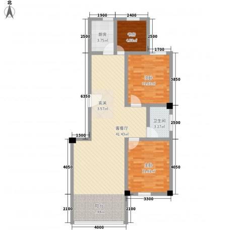 海棠铭居3室1厅1卫1厨75.98㎡户型图