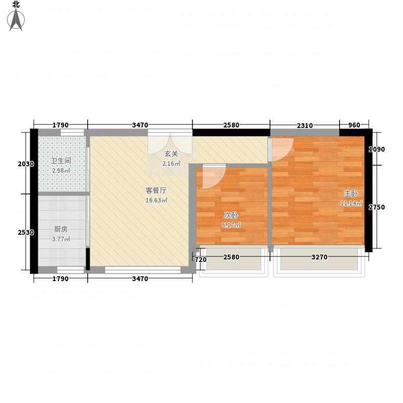 深莞城65.15㎡二期高层C2户型2室2厅1卫1厨