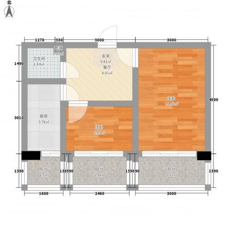 园丁花园二期2室1厅1卫1厨55.00㎡户型图