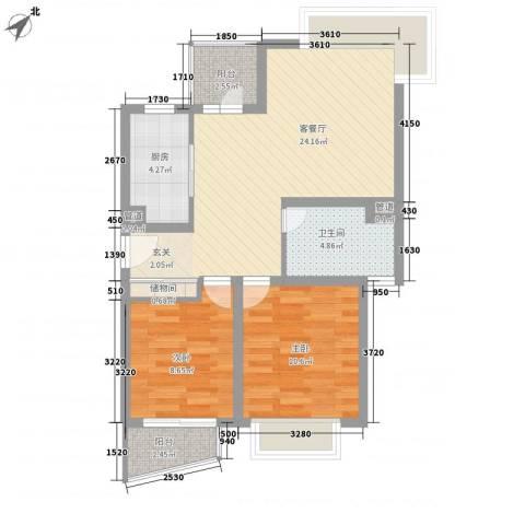 惠康小区2室1厅1卫1厨85.00㎡户型图