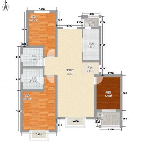 石家庄饮食公司宿舍3室1厅2卫1厨122.00㎡户型图