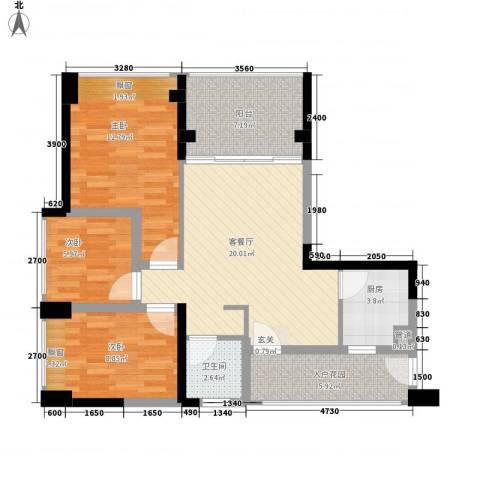 中梁v城市3室1厅1卫1厨78.00㎡户型图