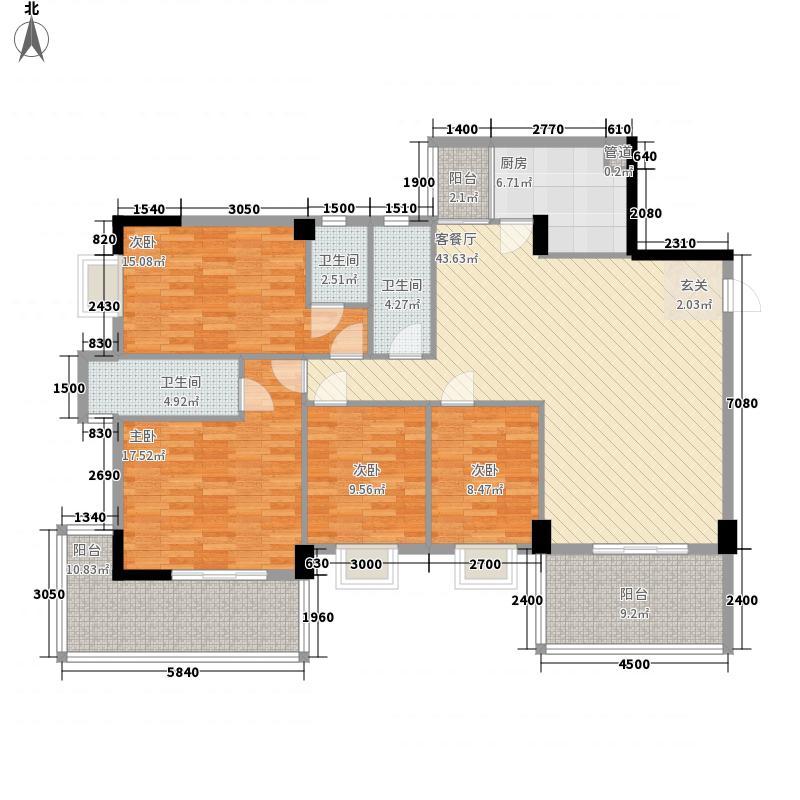 富和海岸城158.00㎡7栋1单元04、2单元07户型4室2厅3卫1厨