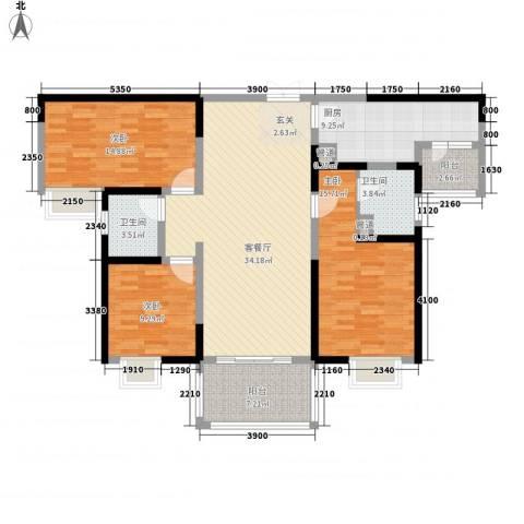 天润碧海湾3室1厅2卫1厨133.00㎡户型图