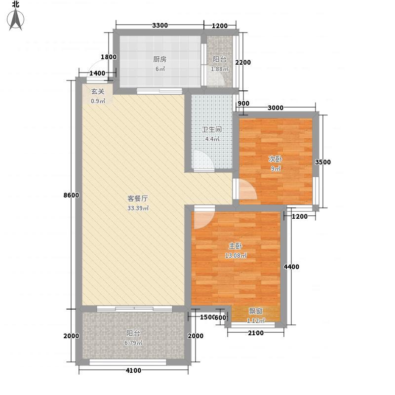 桃溪河畔御龙湾88.30㎡5#楼-F户型2室2厅1卫