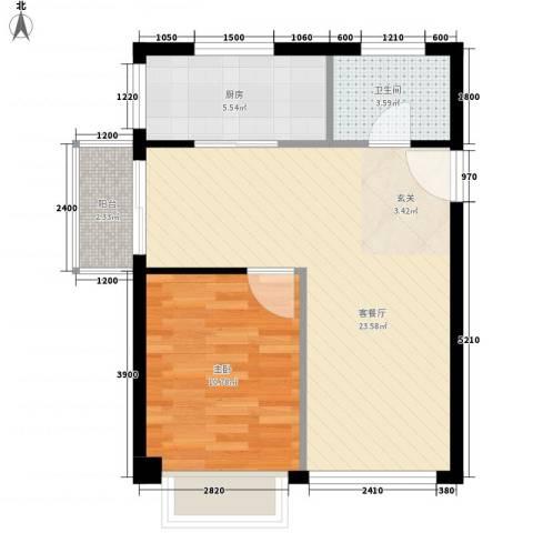 上谷居1室1厅1卫1厨63.00㎡户型图